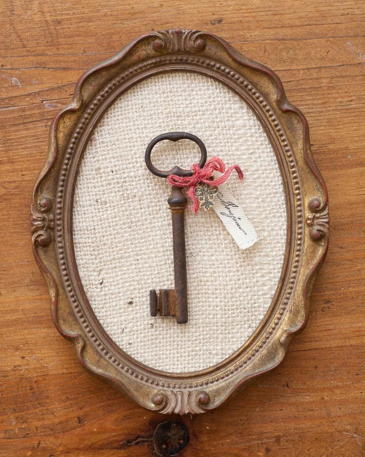 bonjour antique french skeleton key in vintage frame. $45.00, via Etsy.