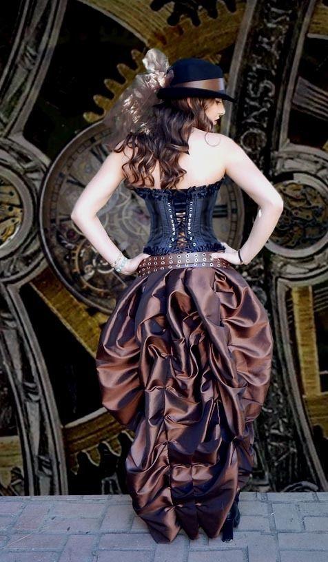 Black Steampunk, Saloon Girl Corset with Taffeta Bustle Skirt