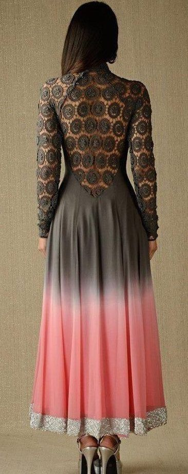 Lace-back grey and pink anarkali