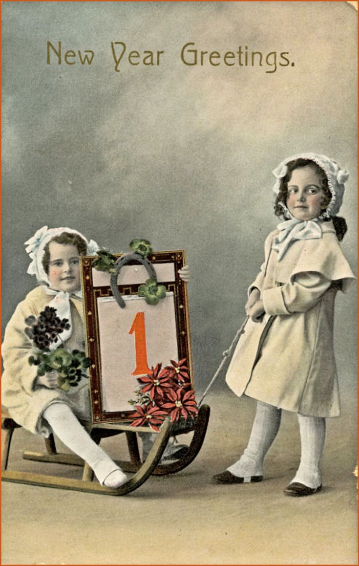 218 best cards new year images on pinterest new year card new two sweet girls in vintage new year greeting card kristyandbryce Images