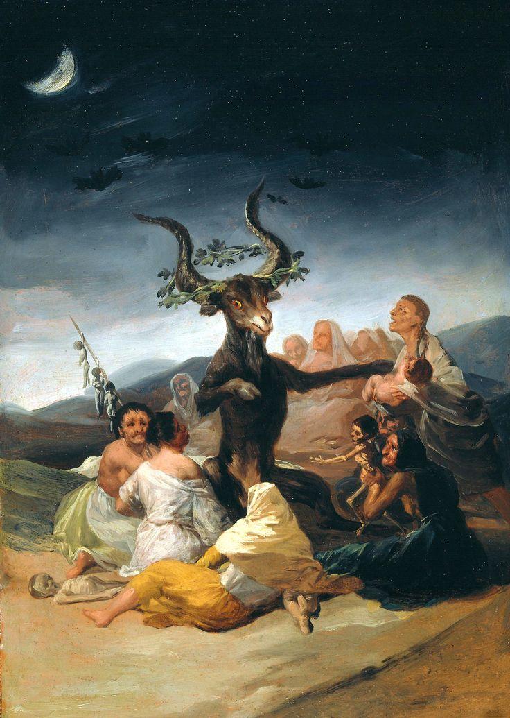 Francisco Goya; Witches' Sabbath, 1798. Museo Lázaro Galdiano, Madrid.  romantiek (goya) kunst omdat hij kunst moest maken voor zijn stress (expressieve kunst)