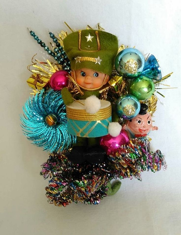 Vintage Christmas Corsage Pixie elf Drummer Mercury