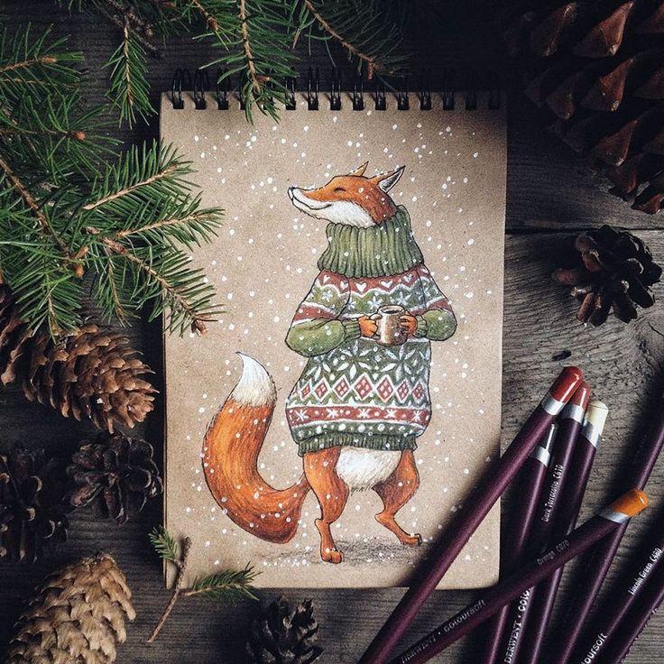 Надписью тома, лиса новогодняя открытка