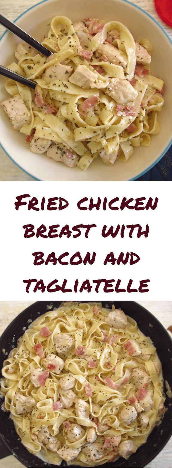 Fried chicken breast with bacon and tagliatelle