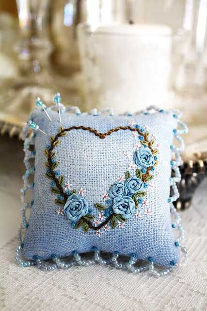 Blue heart pin cushion....