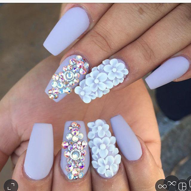 White Prom Nails With Rhinestones Fashion Dresses