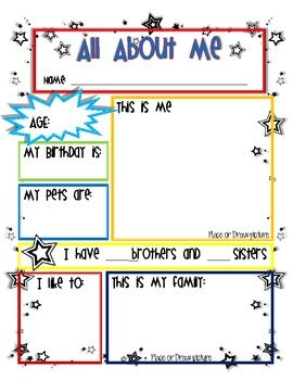 Worksheets About Me Worksheets 1000 ideas about all me worksheet on pinterest star student mrs terpstra teacherspayteachers com