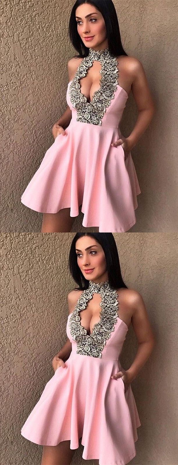 Chic pink party dresses, sparkle homecoming dresses, cheap key hole homecoming gowns with appliques