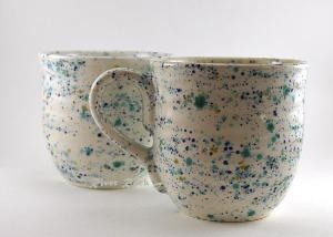 I really want to know how this look is achieved. Large Handmade Ceramic Mugs - White Confetti Set of 2 by RiverRockArtsMD.