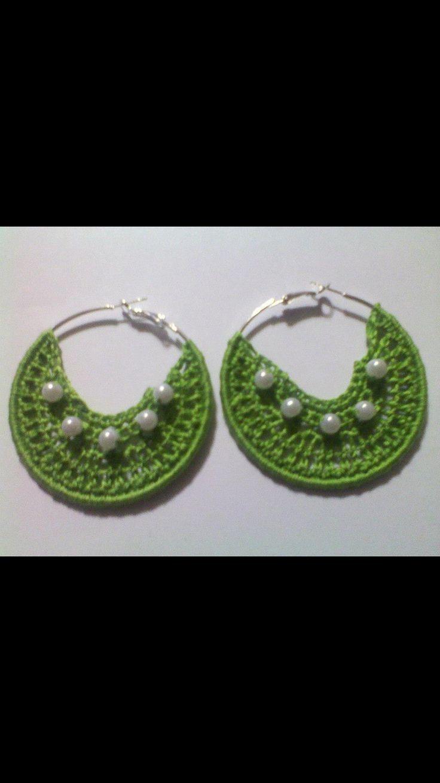 Lime green crochet earrings. Handmade by Sal