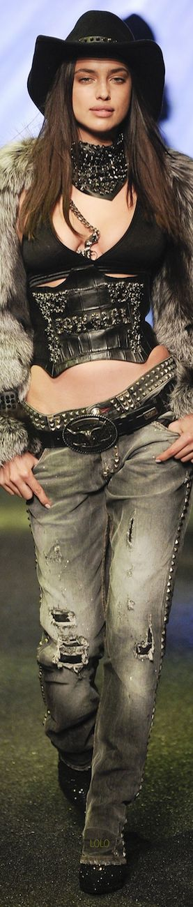 Perhaps this is new age western wear ~Irina Shayk for Philipp Plein FALL 2014 Ready-To-Wear LBV, #Fall2014 #fashion #designerfashion