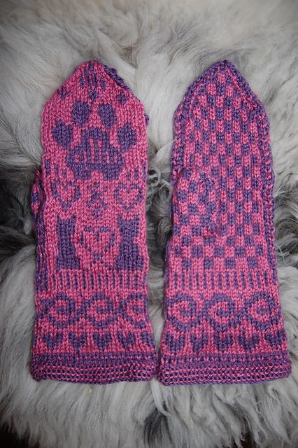 "Ravelry: Cat Mittens ""Cat TuttiFrutti"" pattern by Connie H Design"
