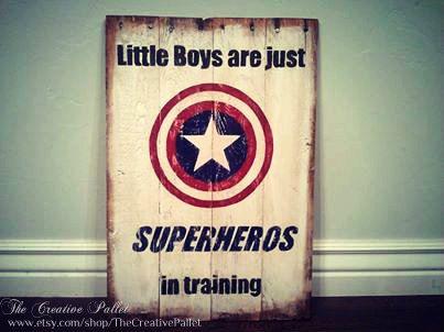 "Superhero Sign Vintage Pallet Wood Sign ""Little Boys Are Just Superheros in Training"""