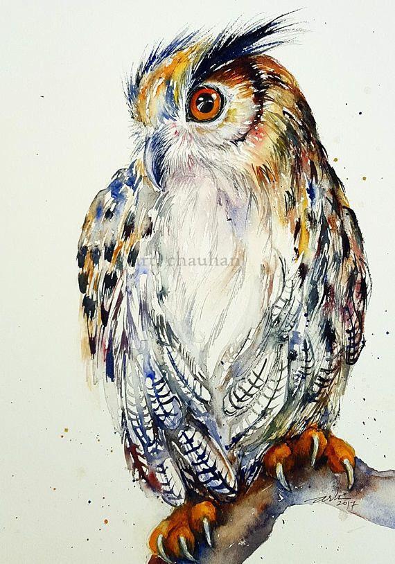 Great Horned Owl Original Watercolor Painting Wall Art Bird