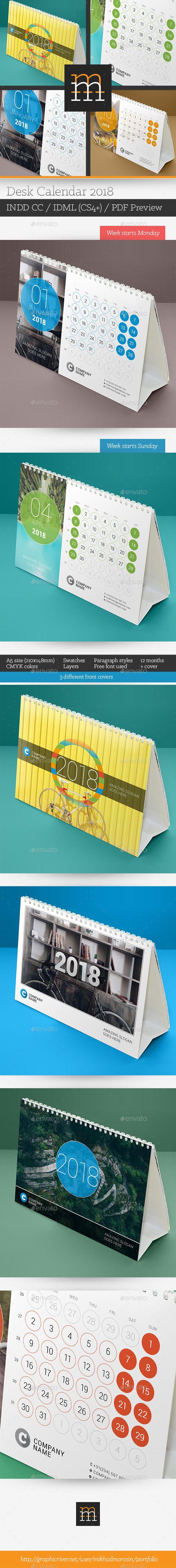 Desk #Calendar 2018 - Calendars #Stationery Download here:  https://graphicriver.net/item/desk-calendar-2018/20248878?ref=alena994