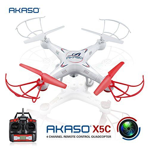 AKASO X5C 4CH 2.4GHz 6-Axis RC Quadcopter with HD Camera, Gyro Headless, 360-degree 3D Rolling Mode 2 RTF RC Drone ( Bonus MicroSD card & Blades Propellers included ):