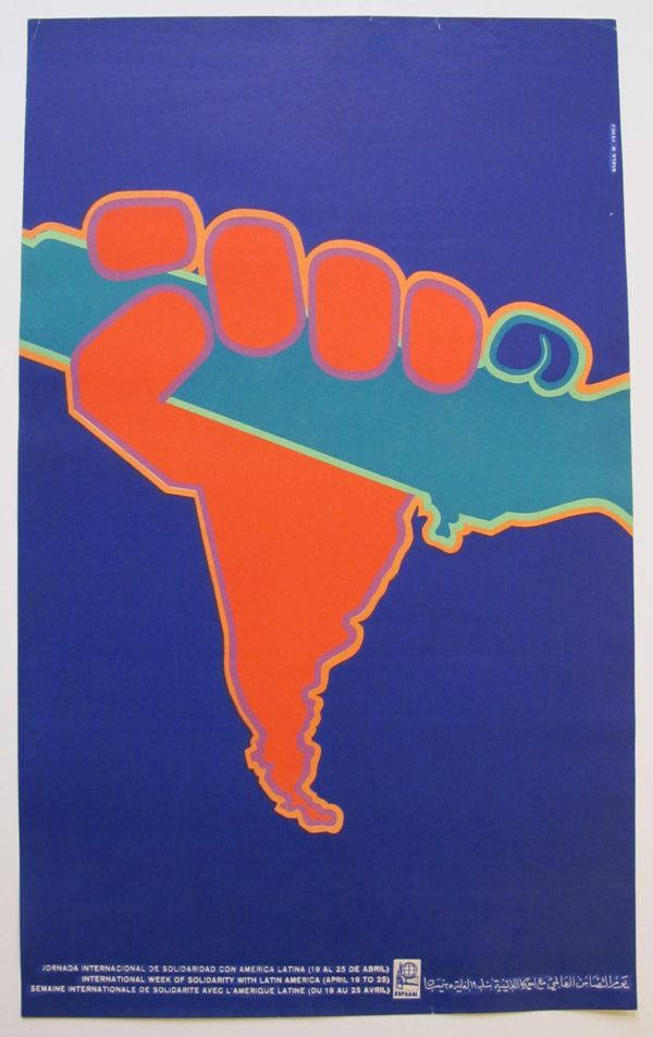 1970, poster by Asela Perez, Solidarity with Latin America, 21 Vintage Political Posters from Cuba - 50 Watts