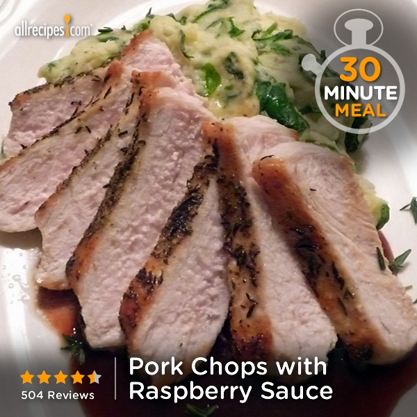 "Pork Chops with Raspberry Sauce | ""Ridiculously EASY to make, and ..."