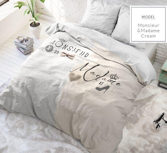 Krémové posteľné obliečky s nápismi pre páry