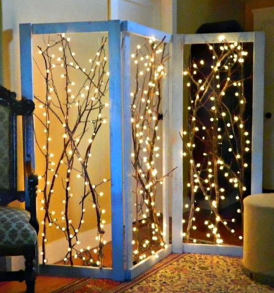 biombo rústico con luces - divisor de ambientes original