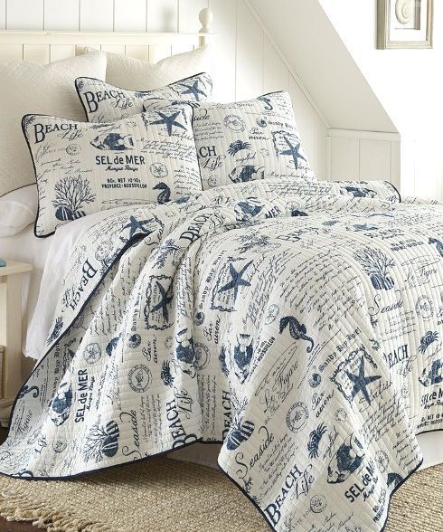 Beach Word Bedding with a French Twist. On Sale at Zulily. Offer ends 9/17. Featured on BBL: http://beachblissliving.com/beach-bedding-collections/