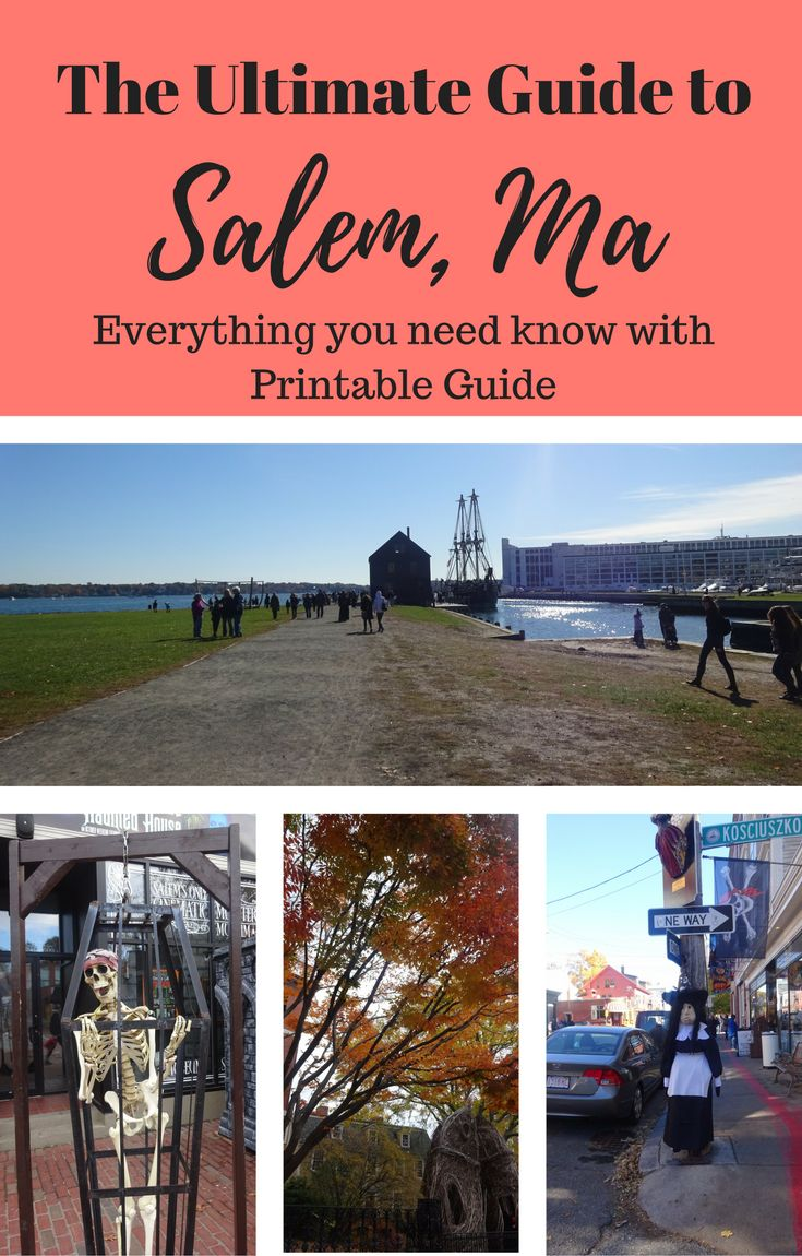 The Ultimate Guide to Salem Ma. With Top things to do in Salem, Where to stay, places to eat and drink, Salem Halloween tips and general  advice. Comes with a printable travel guide to take with you.