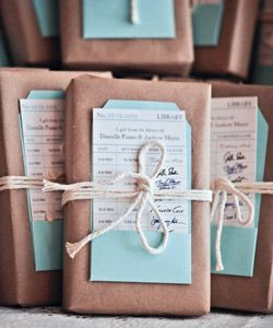 books as party favors - perfect for a library wedding