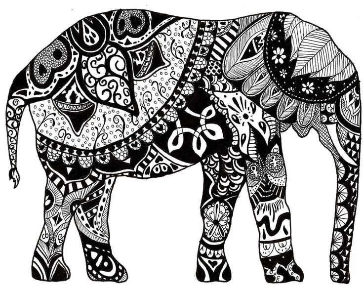 801 best ☮ Art ~ Coloring Pages images on Pinterest Coloring - best of complex elephant coloring pages