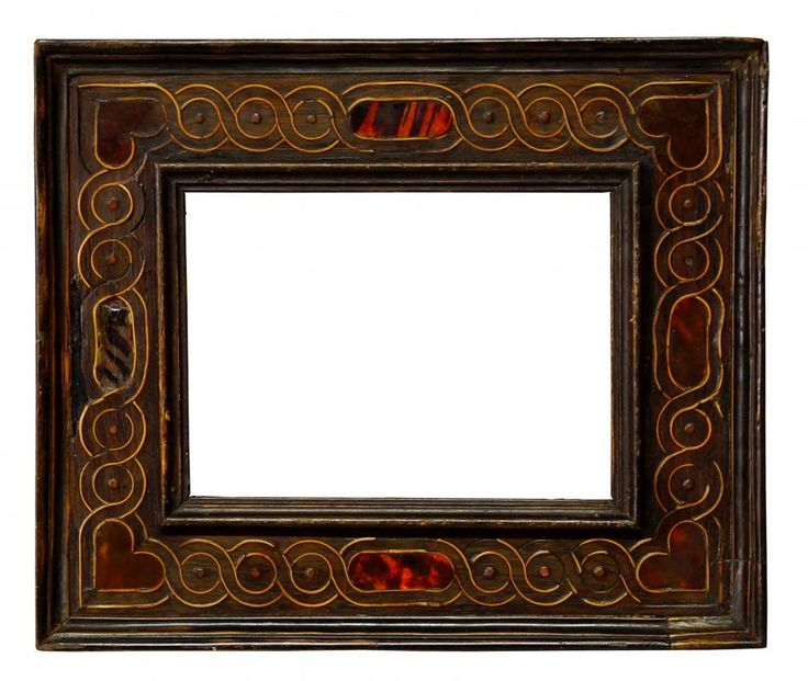 A Spanish Tortoiseshell Mounted and Cassetta Frame, 17th century, plain sight, ogee front edge, the frieze with interlaced guilloche, lozenge centres and heart shaped corners, cavetto and ogee front edge, 10x14cm - Price Estimate: £300 - £400