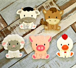 Farm Animl Finger Puppets. Sold separately or buy the whole set. These items and many more are available for purchase from https://www.etsy.com/shop/SchoolhouseBoutique