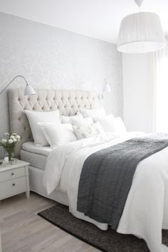 Pale grey walls white crisp natural fabrics relaxing, relaxing, luxurious, relaxing