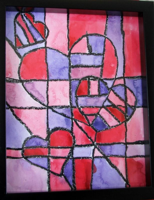 Jim Dine inspired hearts (idea used from 'a faithful attempt' blog)