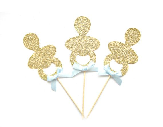 12 Gold Glitter Baby Pacifier Cupcake Toppers Baby by Pelemele