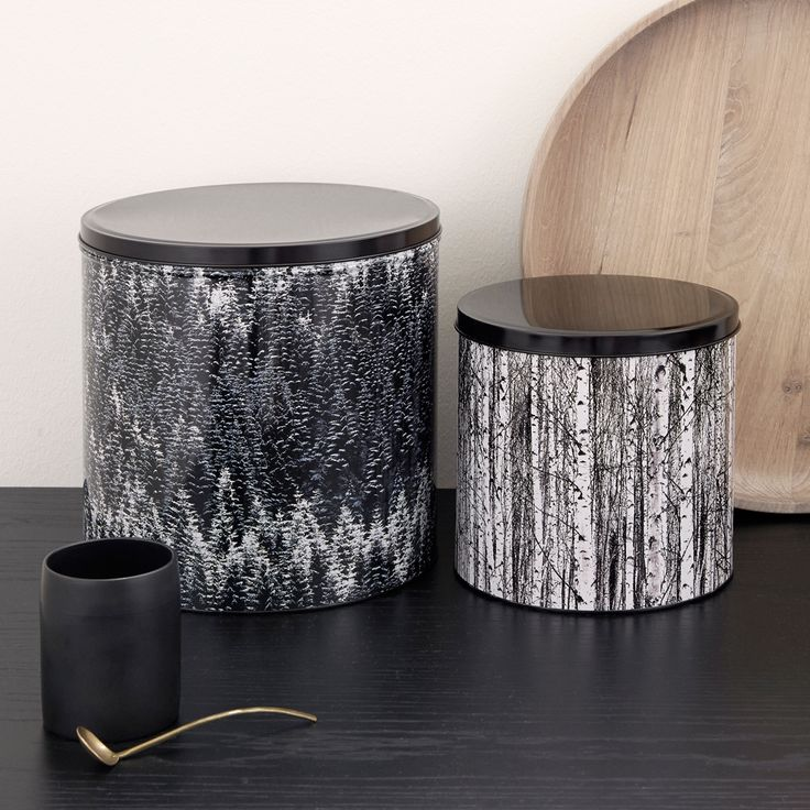 Set of 3 Nordic Forest tin containers. At shopkontrast.com.
