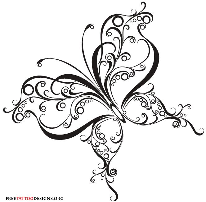 Curly tribal butterfly tattoo design
