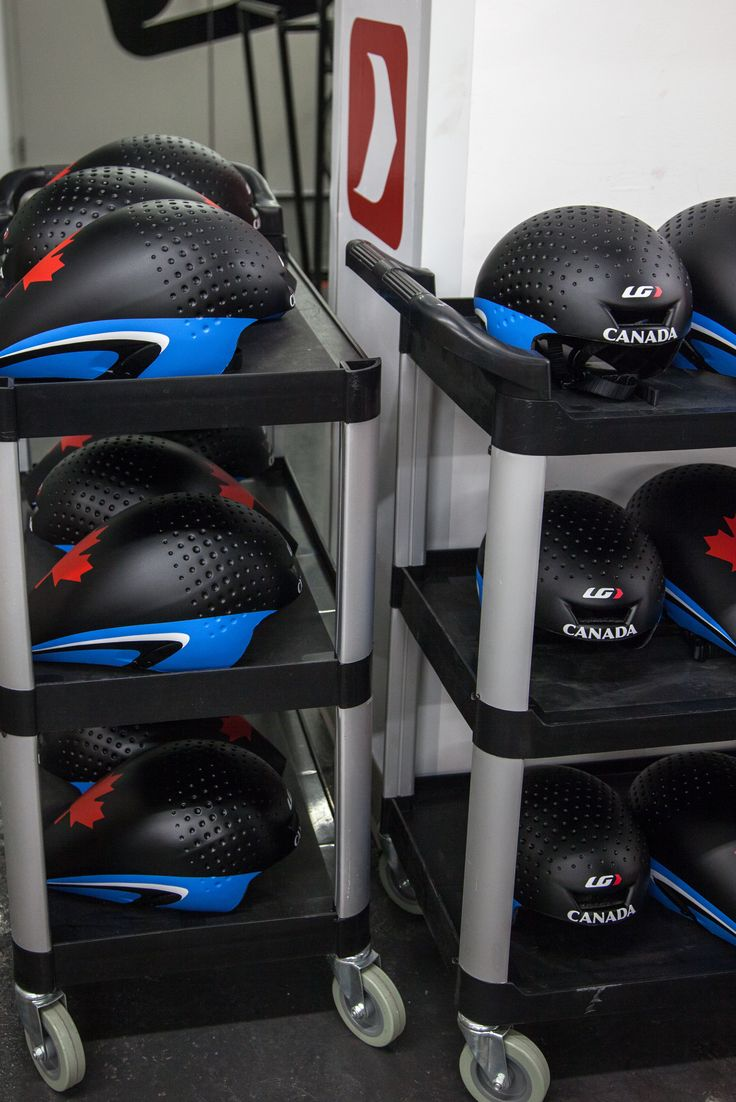 Helmets prepared for theh Canadian National Team at the Track World Cup in London, UK