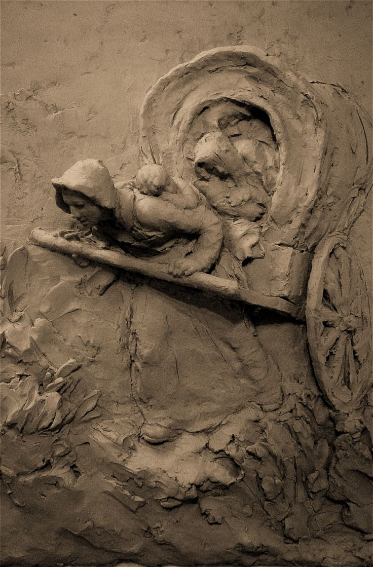 Handcart Mom, Clay for large relief sculpture, Martins Cove Wyoming by LeRoy Transfield 2005