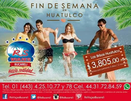 MEGA PROMOCIÓN !! #Huatulco 3 días y 2 noches desde: $3805.00 mxn. Incluye: Vuelo MEX-HUT-MEX , Traslados internos, hospedaje en plan todo incluido, por persona en ocp. doble. #RsviajesBucareli #HazloRealidad #ViveLaExperiencia Cel.44.31.72.84.59 TEL. 01 (443) 4.25.10.77 y 78 Mail: bucareli@rsviajes.com