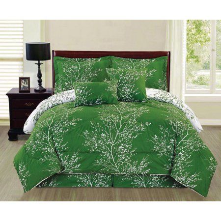 Free Shipping. Buy Natural Green 6 piece Branches Reversible Printed Soft Oversized King Size Comforter Set - Green at Walmart.com