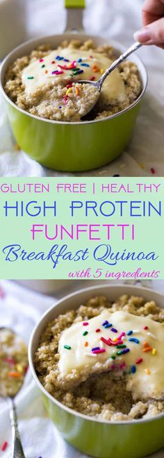 Funfetti Breakfast Quinoa - Because who doesn't want healthy cake for breakfast?! Easy, gluten free and protein packed! | Foodfaithfitness.com | @FoodFaithFit | healthy breakfast quinoa. breakfast ideas for kids. breakfast quinoa with almond milk. protein breakfast quinoa. healthy breakfast ideas. breakfast meal prep. high protein breakfast recipes.