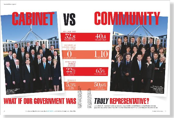Cabinet vs community. Clipped from ©marie claire Australia using Netpage.