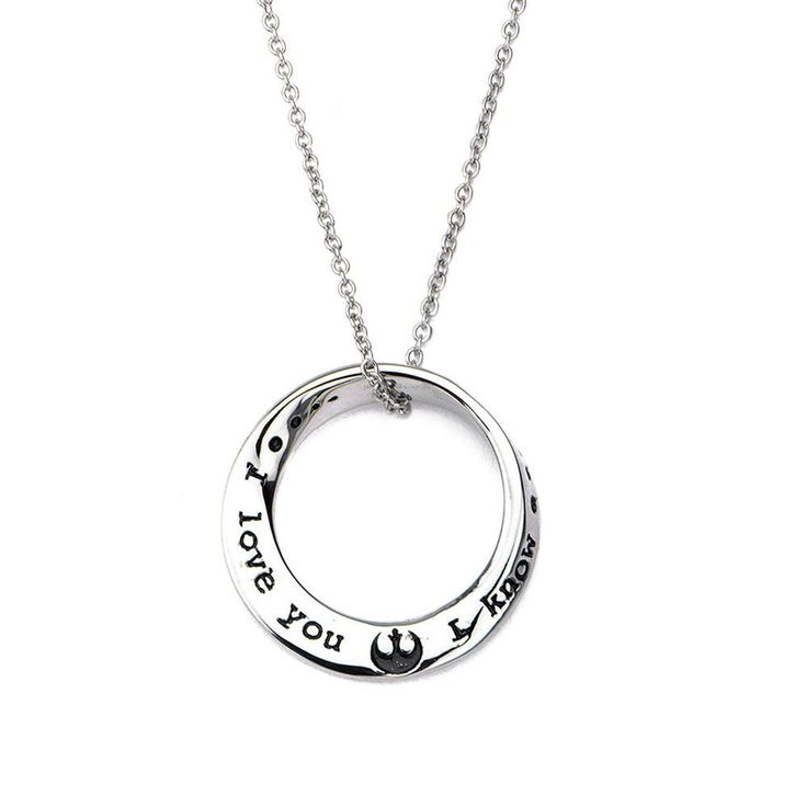 """""""I love you. I know."""" Round Pendant Stainless Steel Star Wars Necklace"""