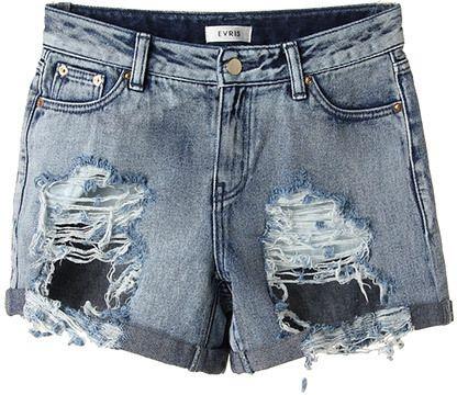 カジュアルでエッジーなスタイリングに。 EVRIS デニムハーフパンツ/ ripped shorts on ShopStyle