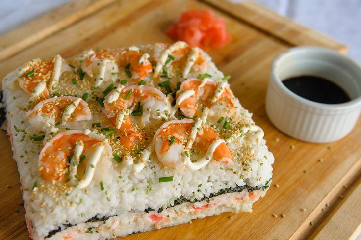 Sushi Cake with Shrimp, Crab & Scallops