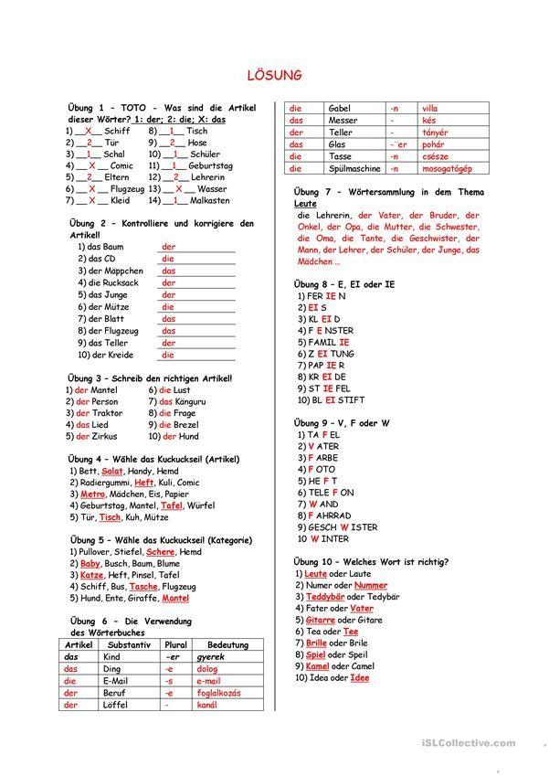 Grammatik übungen Artikel Substantiv 2 Deutsche Grammatik