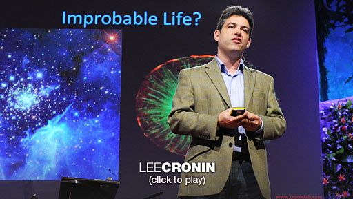 "Lee Cronin: Making matter come alive  Before life existed on Earth, there was just matter, inorganic dead ""stuff."" How improbable is it that life arose? And -- could it use a different type of chemistry? Using an elegant definition of life (anything that can evolve), chemist Lee Cronin is exploring this question by attempting to create a fully inorganic cell using a ""Lego kit"" of inorganic molecules -- no carbon -- that can assemble, replicate and compete."