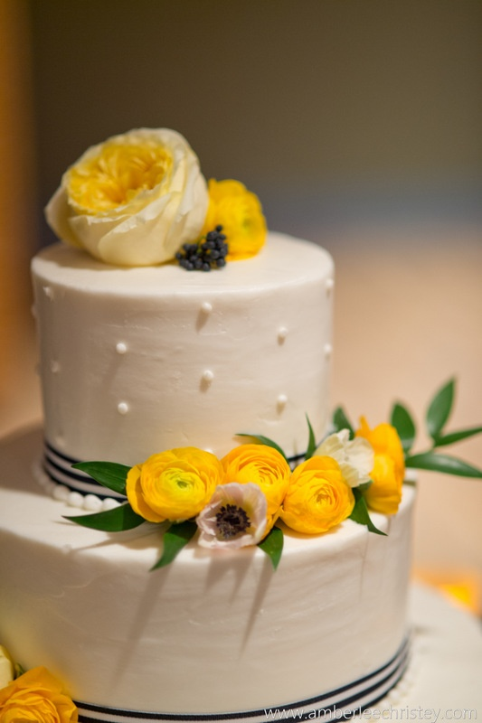 Yellow and Navy Wedding Cake | Floral by Liza of LovelyGirls Events | Cake by Sweets to You by Ginger | Delaware Weddings