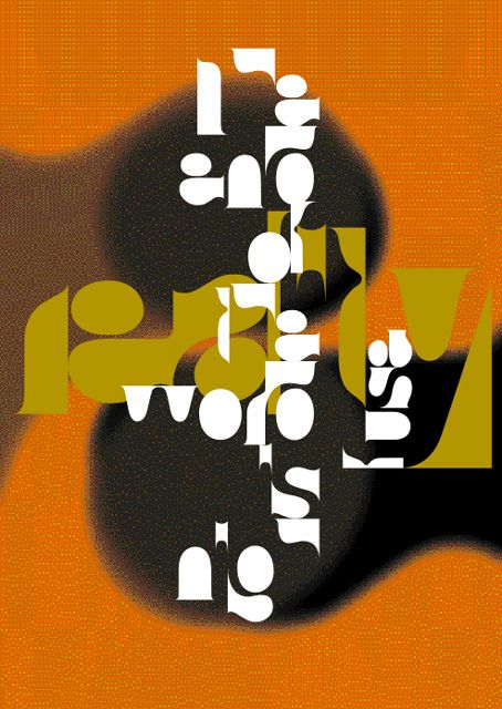 Neville Brody. Portada de FUSE (hacia 1995) using negative space as lettering with lovely composition