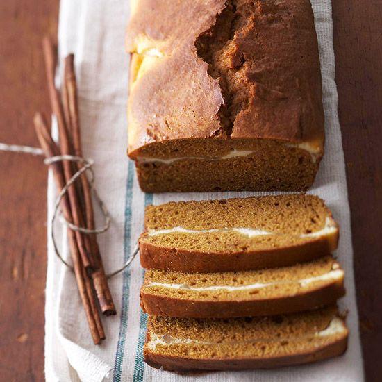 This Double-Decker Pumpkin Bread is full of irresistible pumpkin flavor! More pumpkin recipes: http://www.bhg.com/thanksgiving/recipes/pumpkin-recipes/?socsrc=bhgpin083013pumpkinbread=42Pumpkin Recipes, Sour Cream, Pumpkin Breads, Breads Recipe, Decker Pumpkin, Cream Cheese, Bread Recipes, Cream Chees Filling, Double Decker