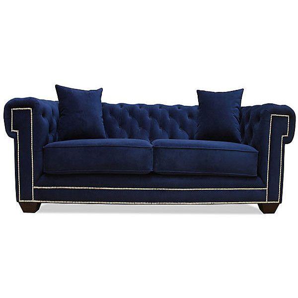 One Kings Lane Florence Tufted Velvet Sofa Navy Sofas  : 9f7a83f915b993737f1eb6ad1243f7c9 navy blue couches blue velvet couch from au.pinterest.com size 600 x 600 jpeg 28kB
